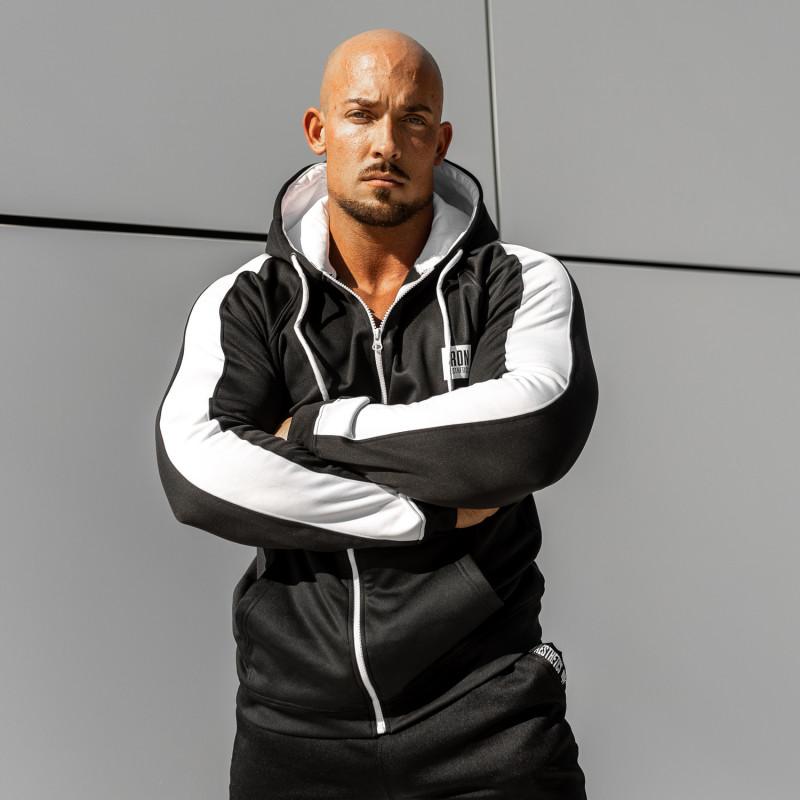 Cipzáros sportos pulóver Iron Aesthetics Boxed, fekete-3