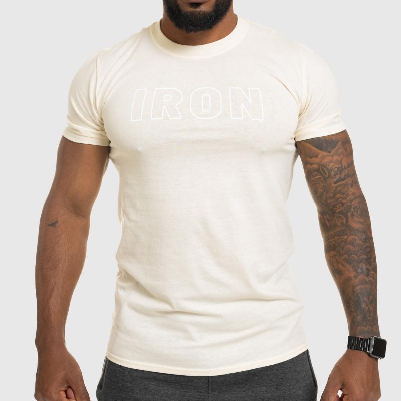 Férfi fitness póló IRON, bézs-1
