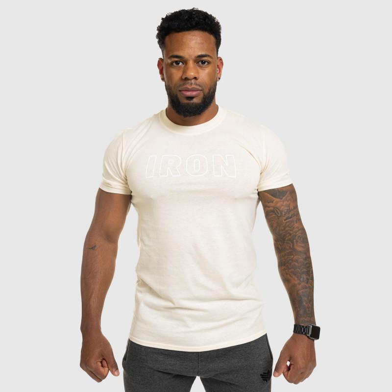 Férfi fitness póló IRON, bézs-8