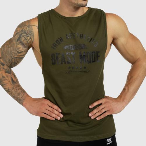 Ujjatlan férfi fitness póló Iron Aesthetics Beast Mode Est. 2017, katonazöld