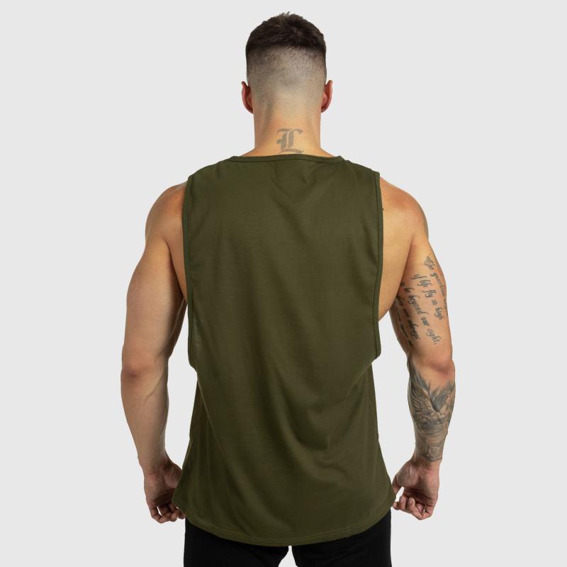 Ujjatlan férfi fitness póló Iron Aesthetics Beast Mode Est. 2017, katonazöld-2