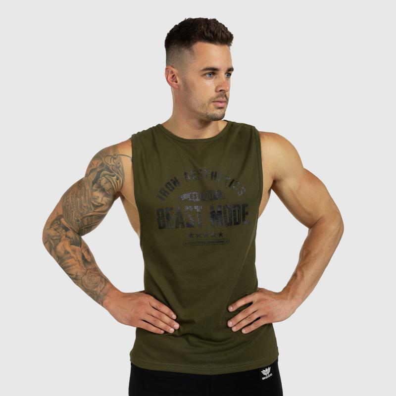 Ujjatlan férfi fitness póló Iron Aesthetics Beast Mode Est. 2017, katonazöld-3