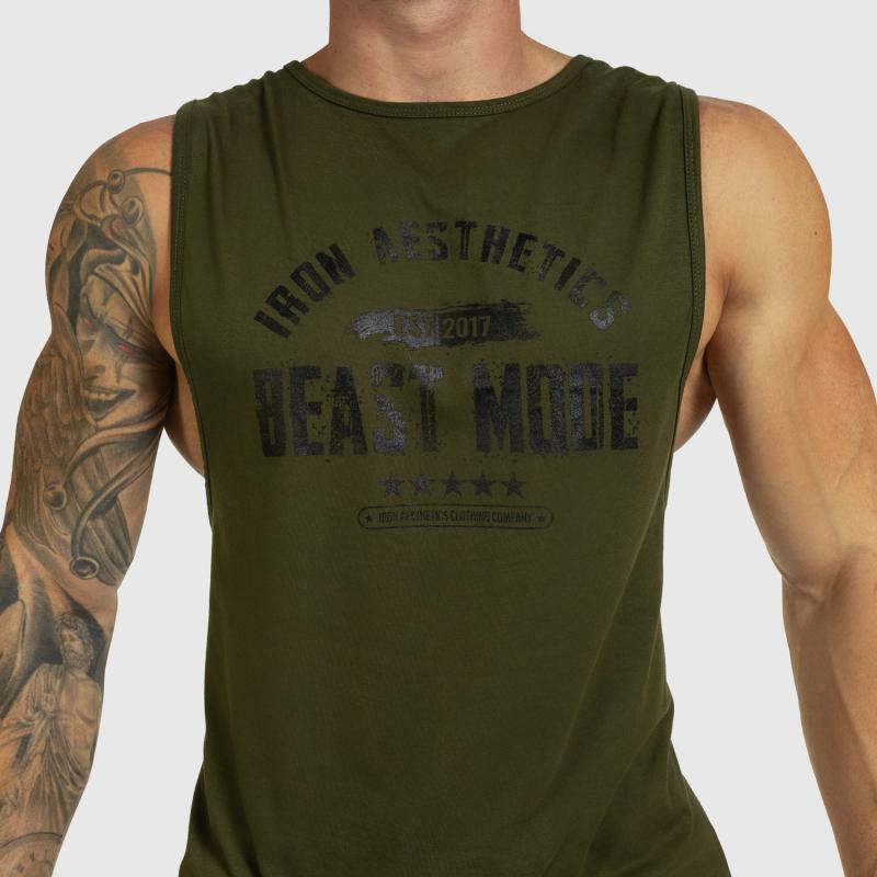 Ujjatlan férfi fitness póló Iron Aesthetics Beast Mode Est. 2017, katonazöld-4