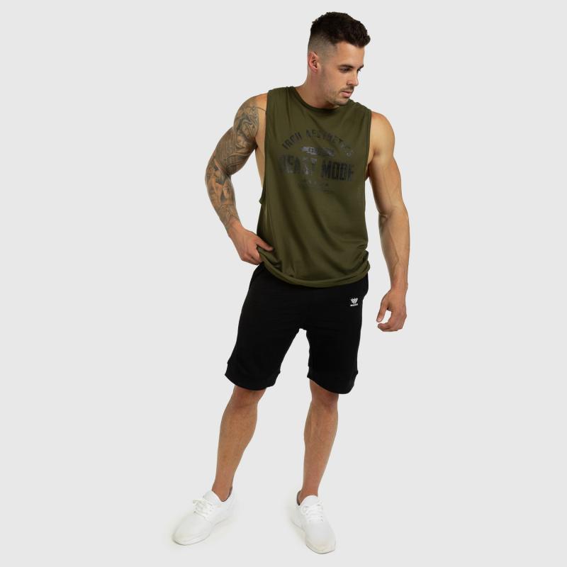 Ujjatlan férfi fitness póló Iron Aesthetics Beast Mode Est. 2017, katonazöld-5