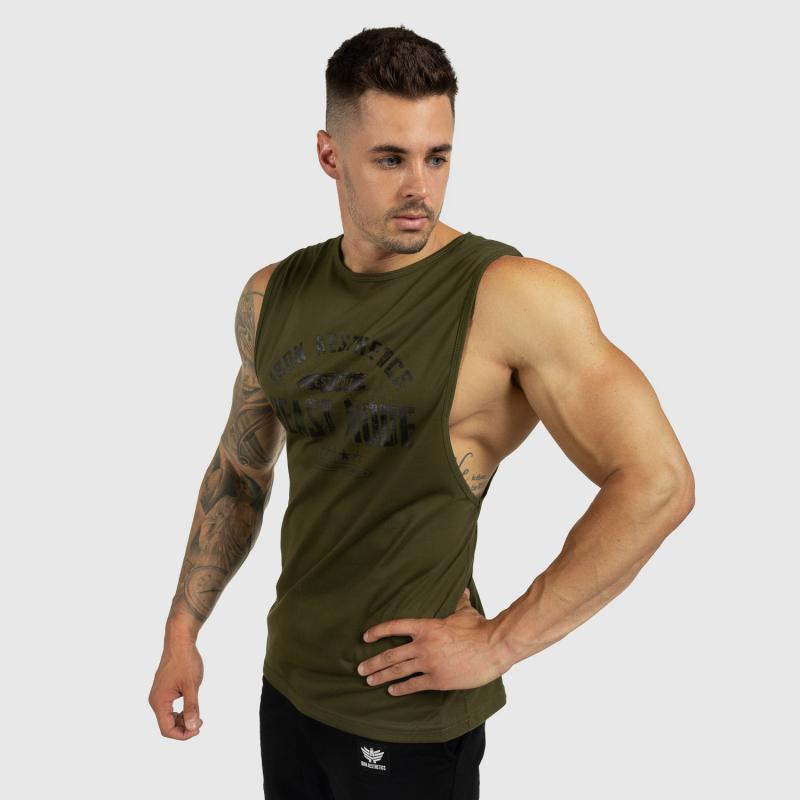 Ujjatlan férfi fitness póló Iron Aesthetics Beast Mode Est. 2017, katonazöld-6