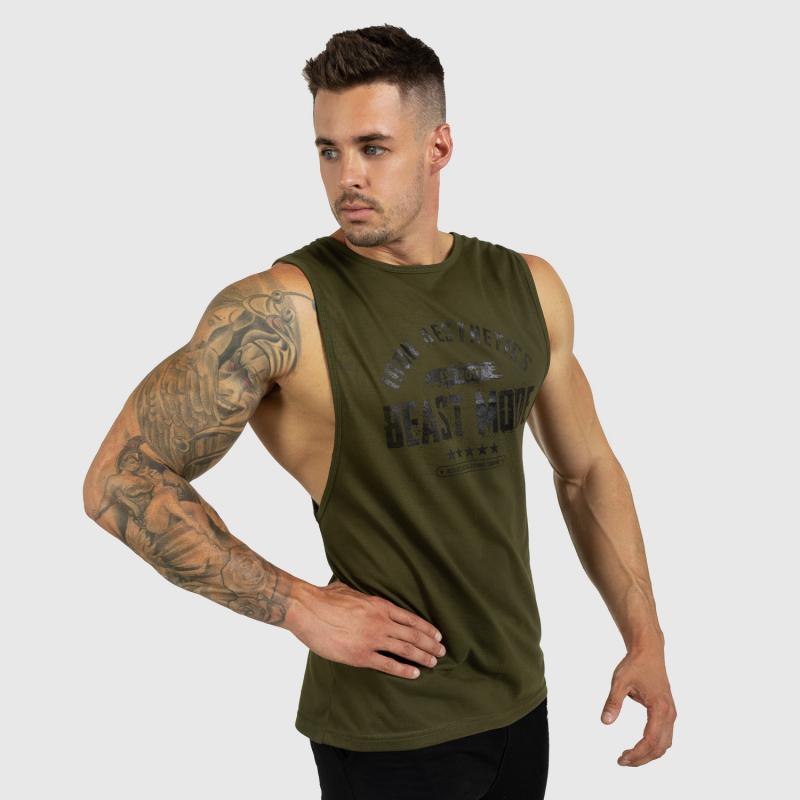 Ujjatlan férfi fitness póló Iron Aesthetics Beast Mode Est. 2017, katonazöld-7